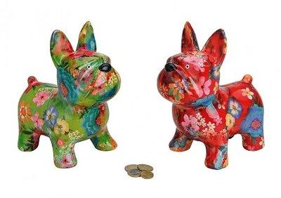 Spaarpot Honden met bloemen opdruk