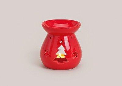 Kerstboom rood kleurige keramieken geurbrander voor soja was melts met kerstgeuren 12 cm hoog